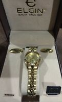 Elgin Old Stock Genuine Diamond Gold Tone Women Watch With Case Case
