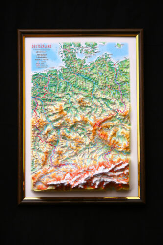 Germany Map 3D Raised Relief Framed Map Amazing Decorative Bird/'s-Eye View