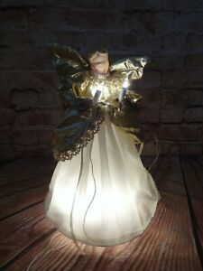 Vintage Lighted Angel Ornament Porcelain Head and Hands White Lace Gown Gold Trim Christmas Tree Decor