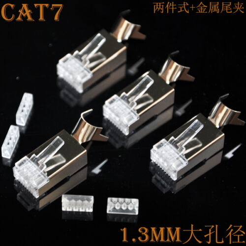 RJ45 8P8C CAT7 Modular Plugs Shielded for Solid Cable AWG23 0.58mm 100pcs//pack