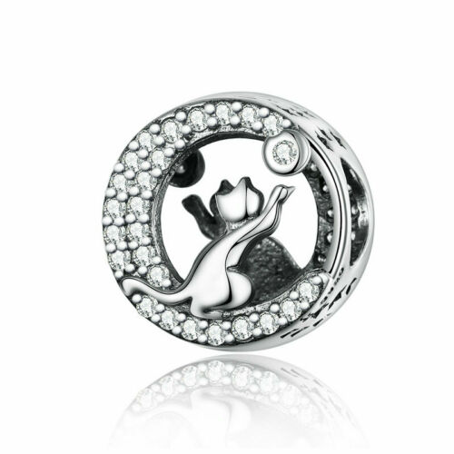Voroco S925 Sterling Silver Pendant Bead Charm CZ To Girl/'s Bracelet Necklace