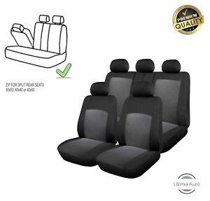 For-Vauxhall-Grey-amp-Black-Cloth-Car-Seat-Covers-9-Pcs-Full-Set-Split-Rear-Seat
