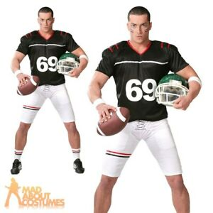 Details About Adult Mens American Football Quarterback Costume Fancy Dress Outfit Us Sports