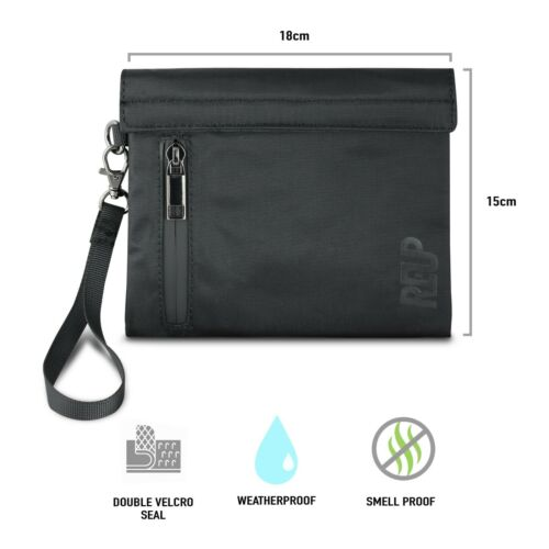 """REUP Smell Proof Bag 7x6/"""" Pouch Hook Loop Discreet Travel Smoker Stash Case UK"""