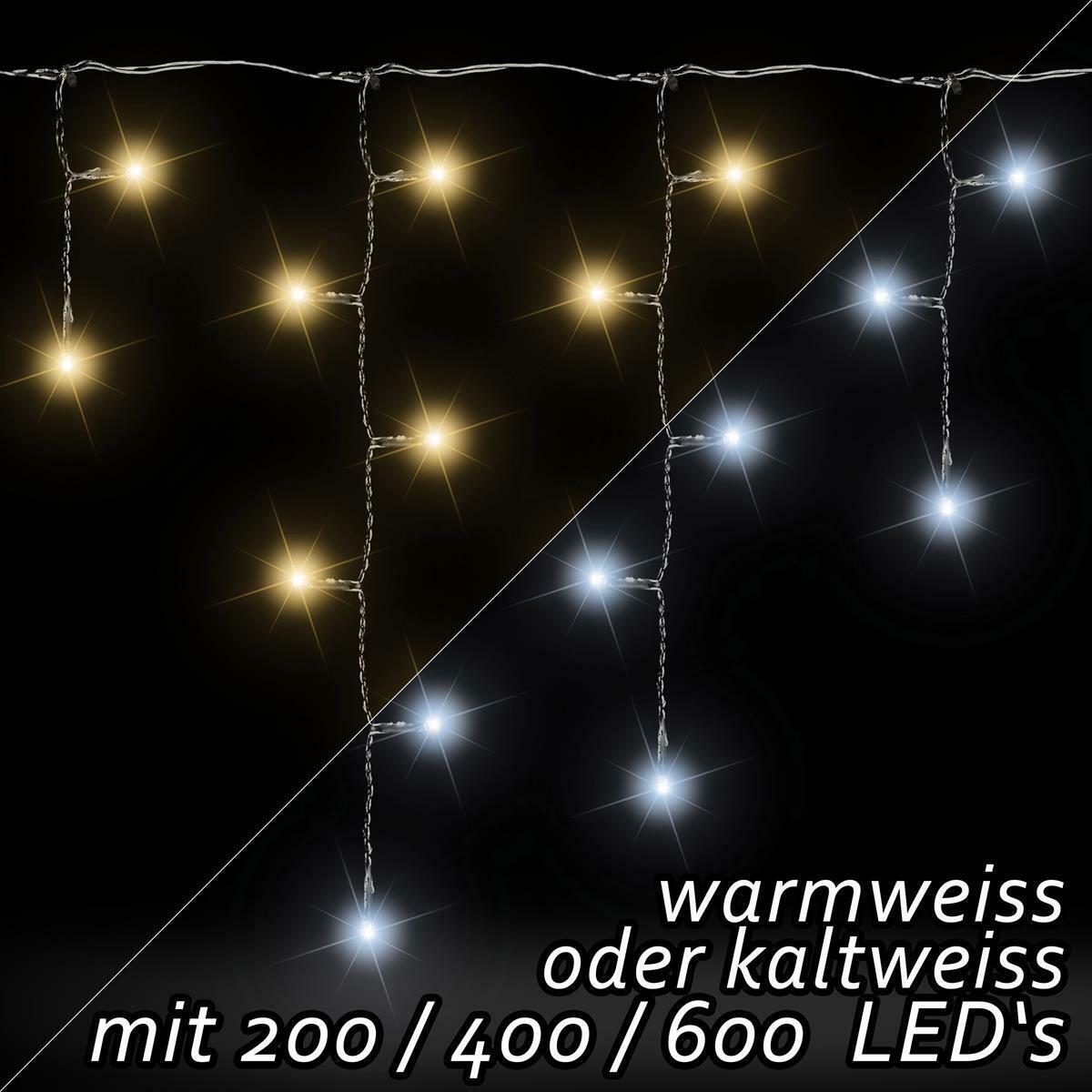 LED Eisregen Lichterkette warmweiß kaltweiß 200 400 600 Weihnachtsdeko Aussen | Am wirtschaftlichsten