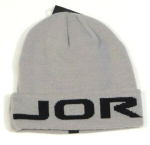 0200332b3ff Nike Jordan Signature Gray   Black Cuff Beanie Skull Cap Youth Boy s ...