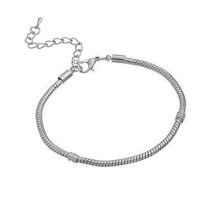 4 Bracelets Chaîne serpent Fermors à Mousqueton pr Européen Charms 20cm