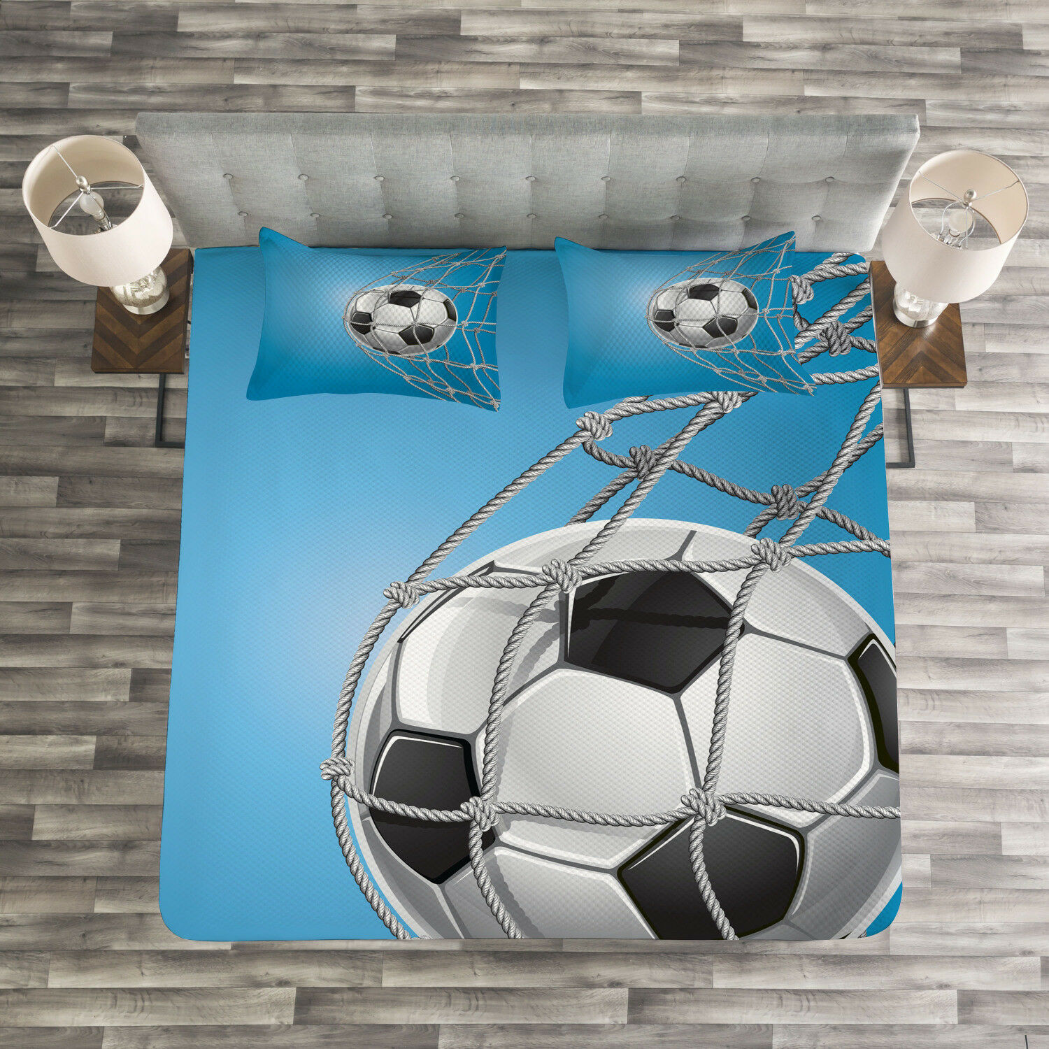 Soccer Quilted Bedspread & Pillow Shams Set, Goal Ball in the Net Print