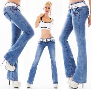 Damen-Hueft-Jeans-Hose-Schlag-BootCut-Denim-incl-Guertel-Stone-Washed-XS-XL