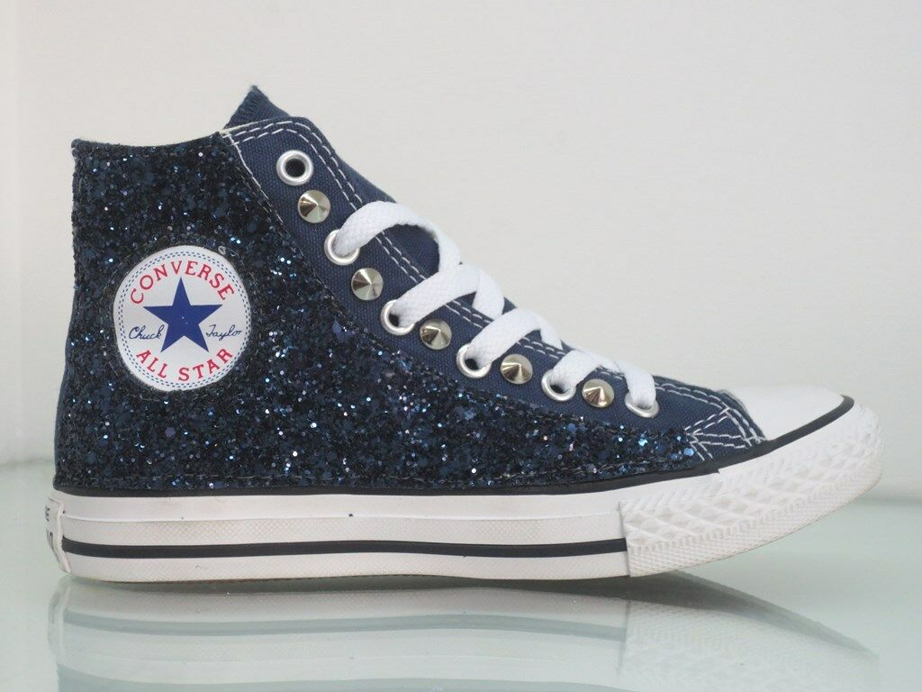 Converse all navy star glitter blu borchie navy all blu  artigianali 6f11b9