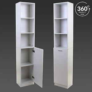 White tall boy storage unit shelving shelves cupboard for Bathroom cabinets tall boy