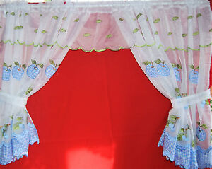 Winchester White And Blue Net Curtain Frilled Window Set