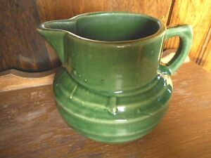 Green Nelson McCoy Shield Pitcher Antique Imperfections Farmhouse Stoneware