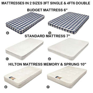 3FT-amp-4FT6-amp-5FT-Bed-Mattress-Budget-6-034-7-034-amp-10-034-Memory-Foam-Sprung