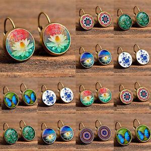 Fashion-Women-Earrings-Glass-Round-Flower-Ear-Stud-Jewelry-Vintage-Retro-Gift