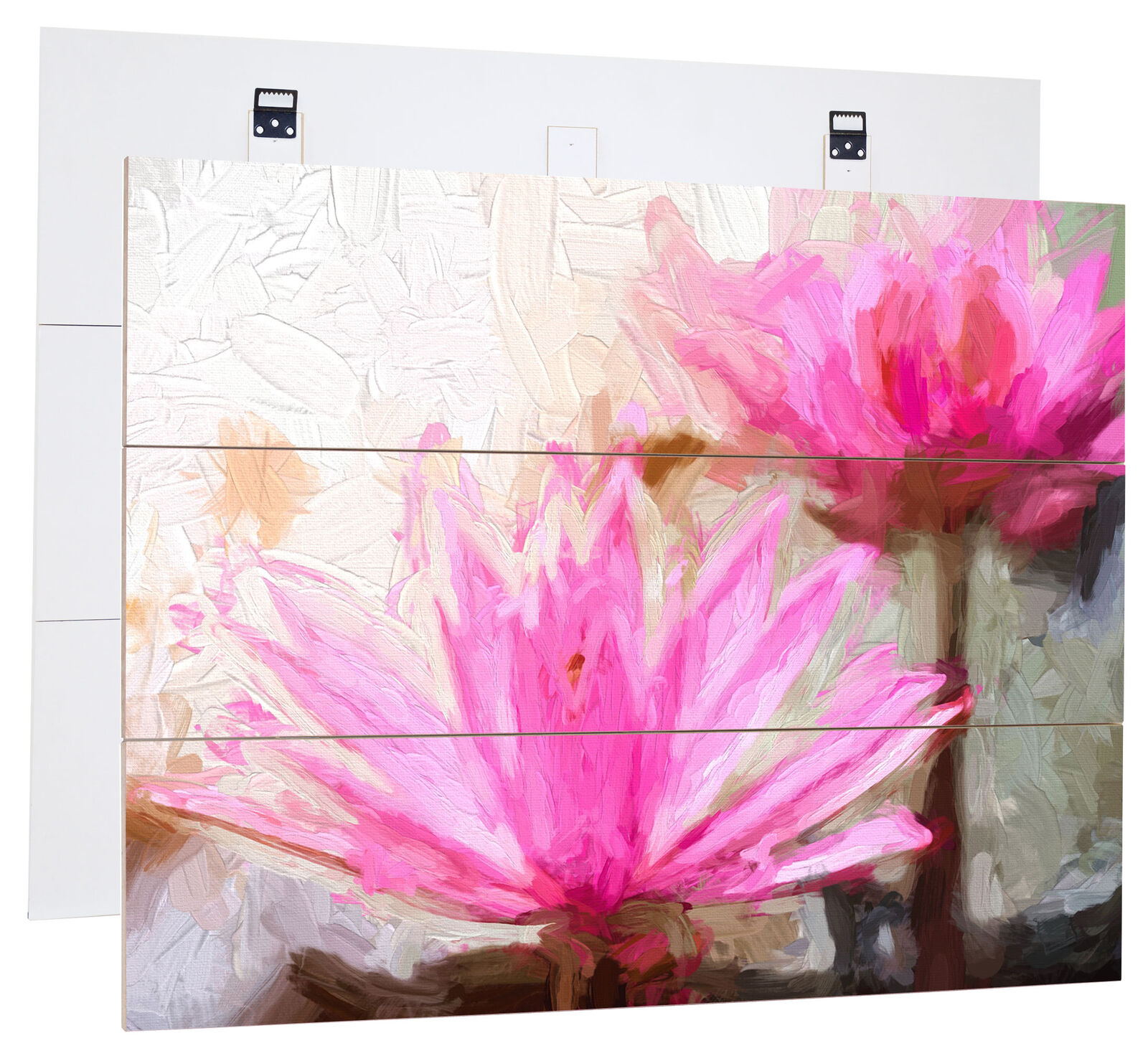 violet Water Lily Art Brush Effect-Genuine MDF boisen Picture Boards Look, H