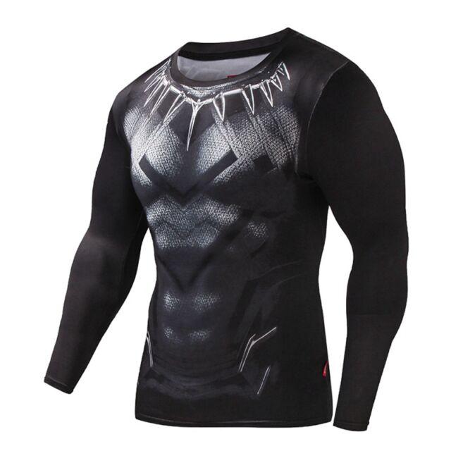 Men s Fashion Compression Superhero Black Panther Cosplay 3D Printed T-Shirt 5d05bfe8b