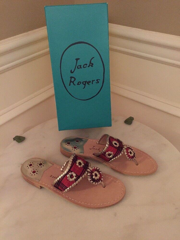NIB Jack Rogers 8 ROT/Platinum Jacks Plaid Navajo Sanda Flip Flip 7M