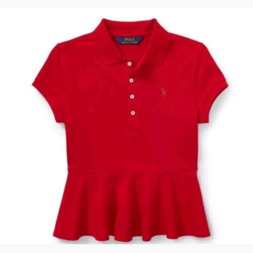 NWT POLO RALPH LAUREN GIRLS COTTON PEPLUM POLO SHIRT LITTLE PONY PARK AVE RED