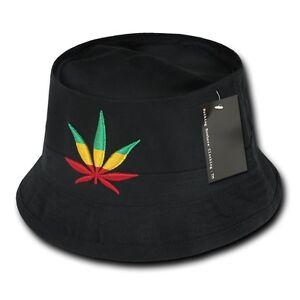Black Rasta Weed Leaf Pot Marijuana Fisherman s Fishing Bucket Hat ... 21e486fc8cb