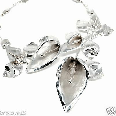 TAXCO MEXICAN STERLING SILVER VINTAGE STYLE CALLA LILY FLOWER NECKLACE MEXICO