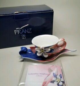 FRANZ-Columbine-Wildflowers-CUP-amp-SAUCER-SET-PORCELAIN-FZ02082-NEW-in-BOX-RARE