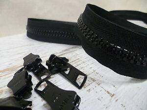 YKK-Zip-amp-Sliders-Chunky-No-10-Continuous-Black-1-Metre-2-Sliders