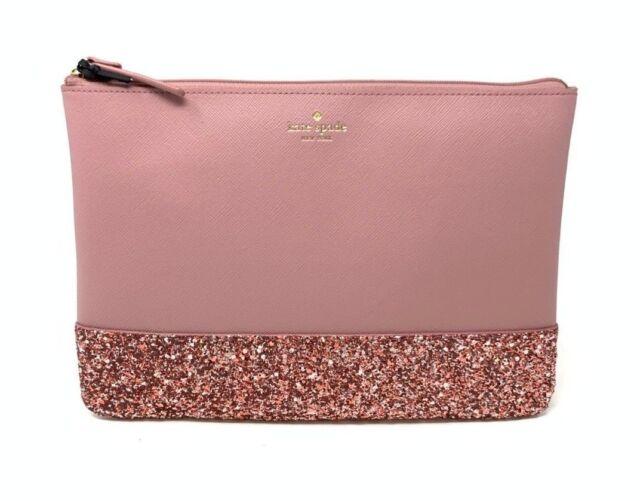 Kate Spade Greta Court Gia Clutch Cosmetic Bag Glitter Dusty Peony Pink Wlru5216