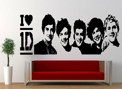 I Love One Direction Star Kids Music Wall Stickers Art room Removable Decals DIY