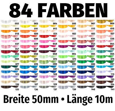 Geschenkband 10m X 50mm €0,495/m Satinband Band Schleifenband Dekoband 84 Farben SchöNer Auftritt