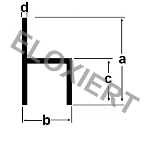 Alu kleines h-Profil ELOXIERT 1 Meter E6//EV1 Aluprofil Aluminium Aluminiumprofil