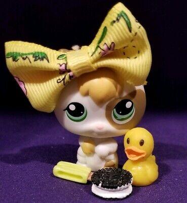 Littlest Pet Shop~#1461~Cat Kitten~Calico~White Brown~Green Eyes~Tuna Can~Fish
