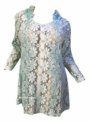 Pretty Angel Size L Aqua Dress / Top Sheer Antique Lace Vintage 10780 NWT $51.99