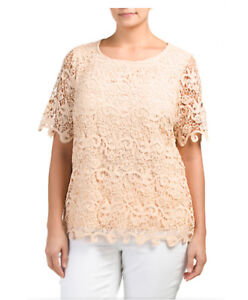 NEW-ADIVA-SOLID-BEIGE-THICK-LACE-EVENING-POLY-SHORT-SLEEVE-LINED-TOP-BLOUSE-2X