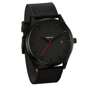 Reduziert-Highshine-Armbanduhr-40mm-4cm-Datum-Kunst-Lederarmband-schwarz-Modern
