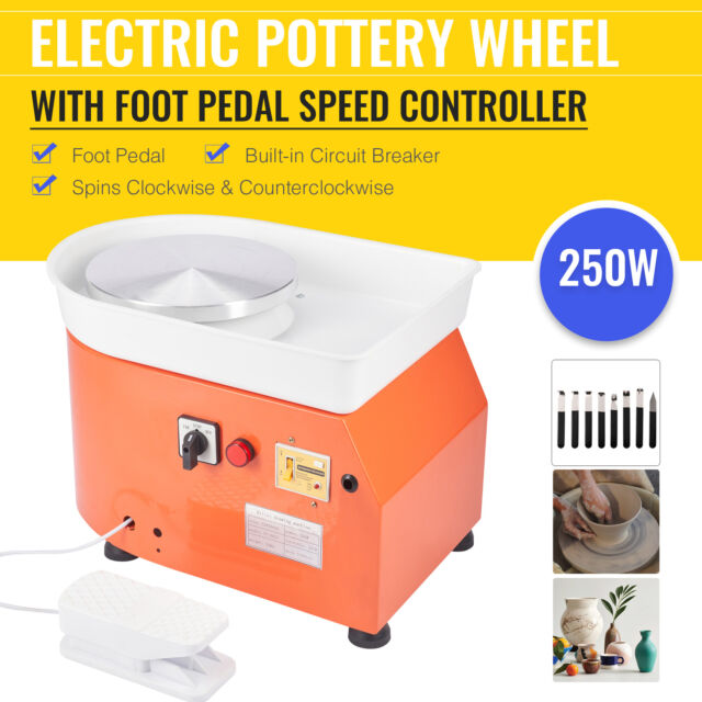 VEVOR Pottery Wheel 25cm Pottery Forming Machine with Sculpting Set Adjustable Ceramic Pottery Wheel 280W with Foot Pedal Art Craft DIY Clay Tool for Ceramic Work Ceramics Clay