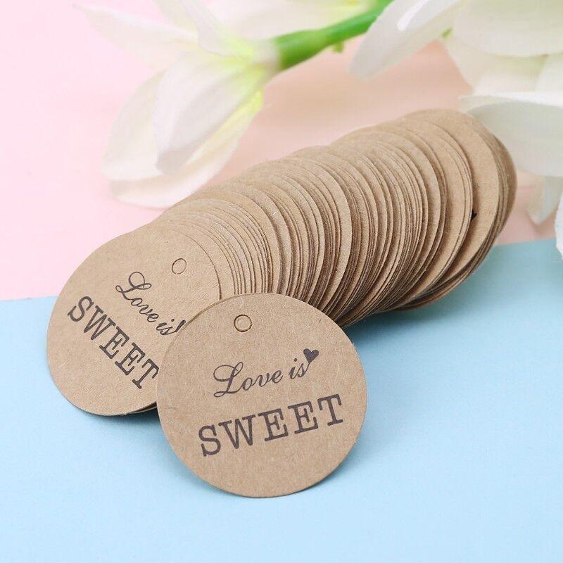 100Pcs Kraft Paper Gift Retro Tags DIY Wedding Party Labels Card Decor LH