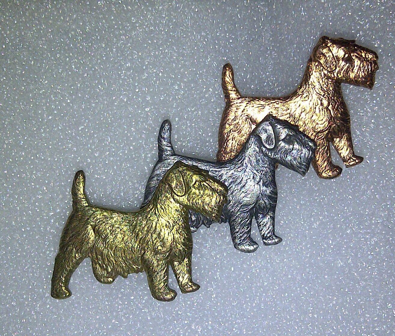 REAL VINTAGE argentoO DORATI Sealyham Cesky Cesky Cesky Norfolk Terrier Dog TIE PIN Spilla di barra 16d88b