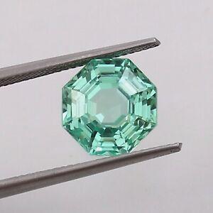 AAA Natural Flawless Green Montana Sapphire Loose Asscher Cut Gemstone 6.40 CT