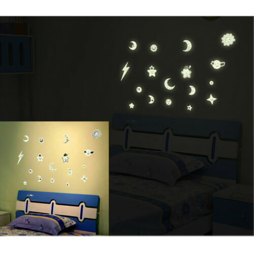 Kids Ceiling Wall Stickers Bedroom Glow in the Dark Stars Moon Decor Child NR7