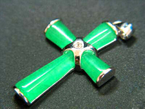 Natural Green//Black Jade Cross Pendant Necklace Lucky Gifts For Women Men