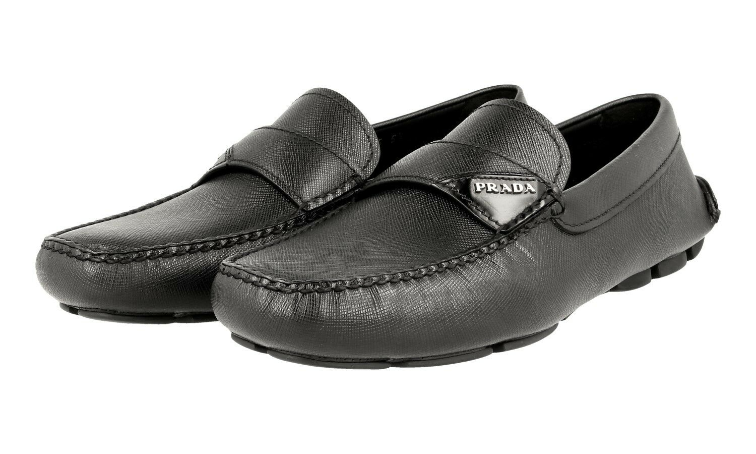 LUXURY PRADA SAFFIANO LOGO LOAFER SHOES 2DD125 BLACK NEW 5,5 39,5 40