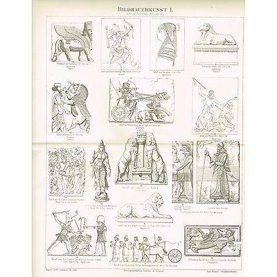 Tafel SKULPTUR ÄGYTEN / ASSYRER / PERSIEN / INDIEN 1888 Original-Holzstich
