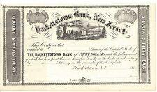 HACKETTSTOWN BANK, NEW JERSEY......1850'S UNISSUED STOCK CERTIFICATE