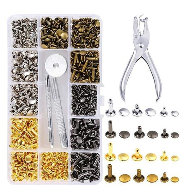 180 Set Leather Double Cap Rivet Tubular Metal Studs Fixing Tool Kit Craft CR062