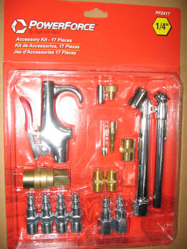 "Power Force Pneumatic Air Tool 1//4/"" Fitting Tire Gauge Blow Gun PF2417 17pc Kit"