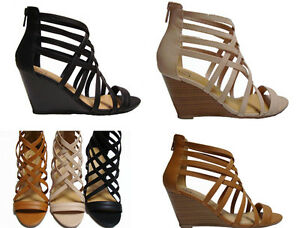 83ada04c7a4 Details about Black Tan Beige Blush Wedge Gladiator Caged Heels Sandals  Booties Shoes runs W