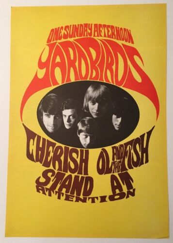 Yardbirds vintage poster Konst One Sunday Afternoon Pin-up Clapton Page Beck 60s