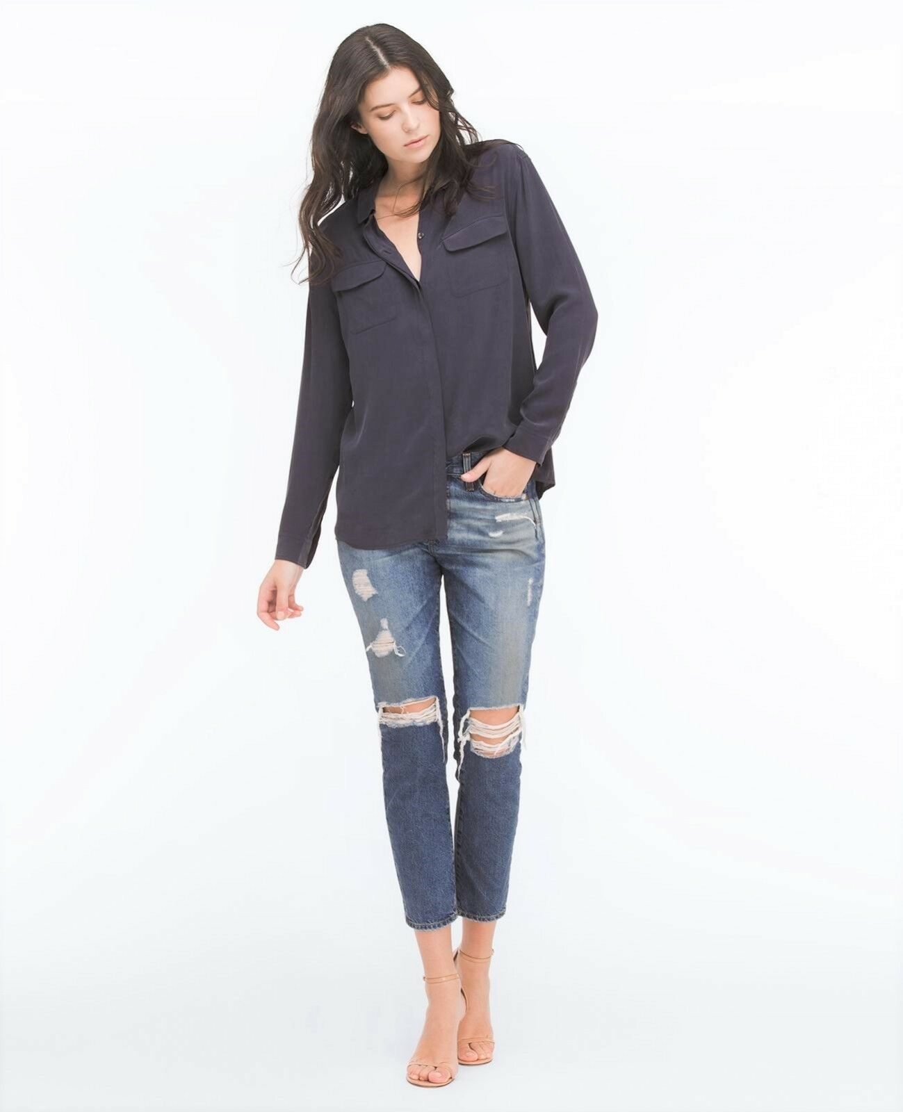 235 AG Beau Relaxed Slouchy Skinny in 16 Years Hourglass, Destroyed - Size 27