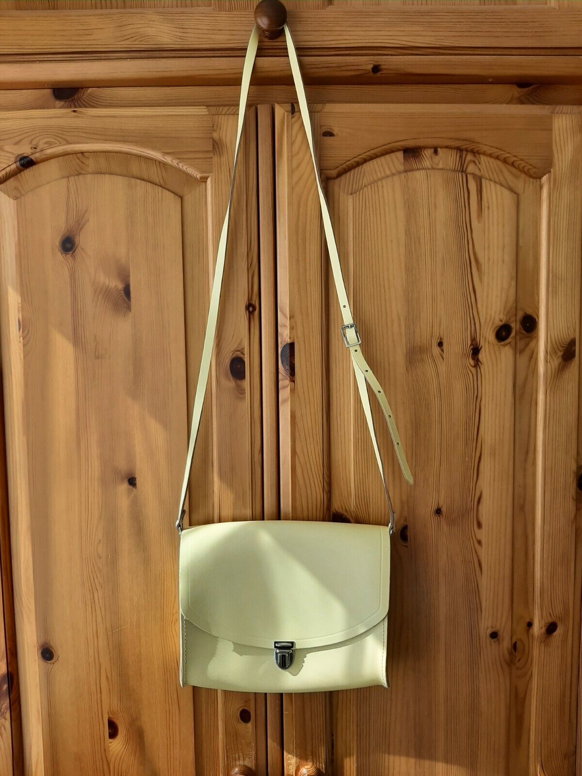 The Cambridge Satchel Company Leather Push Lock Bag In Lemon. Size L.